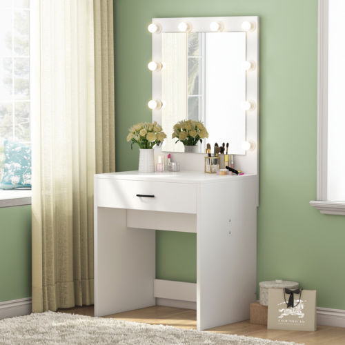 Makeup Vanity Table Set Dressing Cosmetics Desk Mirror: Modern 10 Led Lighted Vanity Table With Drawer And Mirror
