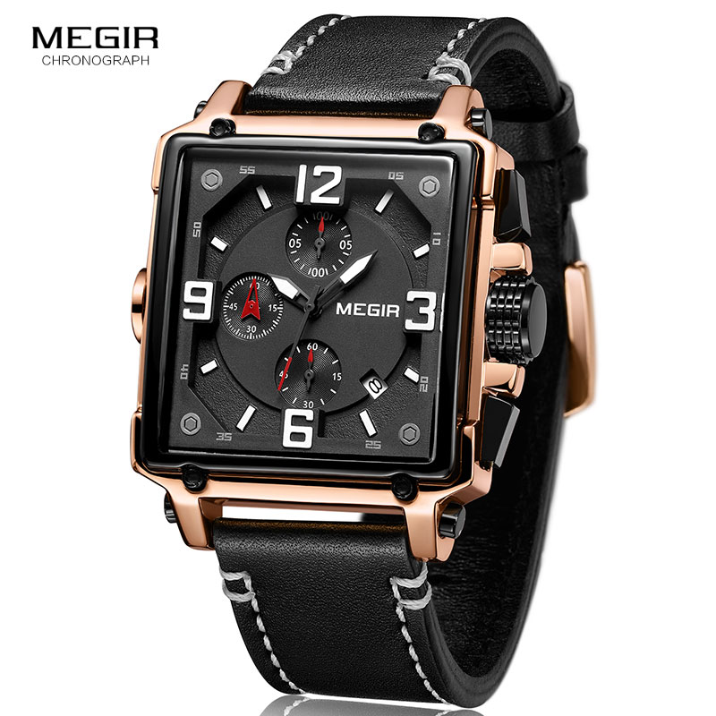 MEGIR Creative Square Men Watch Top Brand Luxury Chronograph Quartz Watches Clock Men Leather Sport Army Military WristwatchesMEGIR Creative Square Men Watch Top Brand Luxury Chronograph Quartz Watches Clock Men Leather Sport Army Military Wristwatches