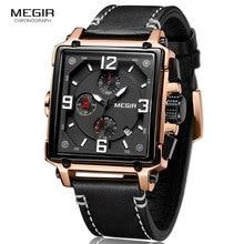 MEGIR montre à Quartz pour hommes, forme carrée créative, marque supérieure de luxe chronographe, horloge à Quartz, style militaire, Sport