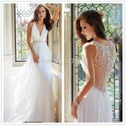2bebf36357c2 Elegant Country Style White Embroidery Beaded Sexy Back See Through Beach  Bridal Chiffon Wedding Dresses