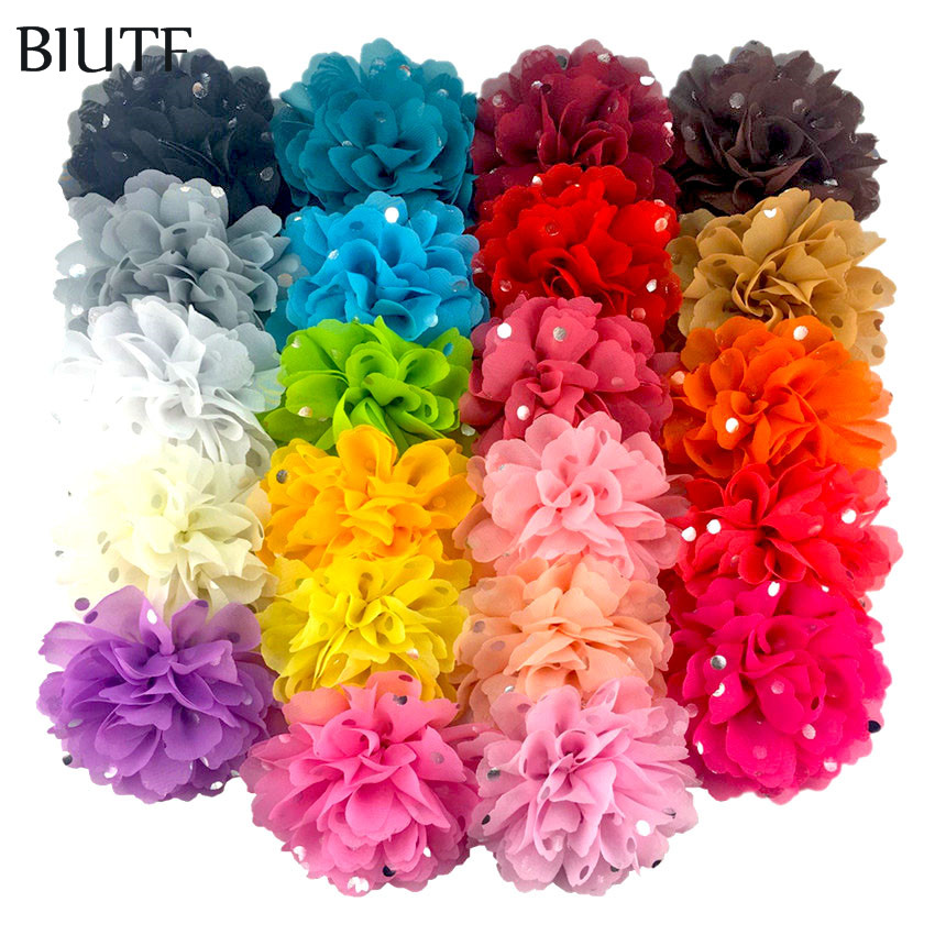 100pcs lot Wholesale 4 Silver Polka Dot Fabric Chiffon Flower Handmade Polyester Flower Headdress Accessories Home
