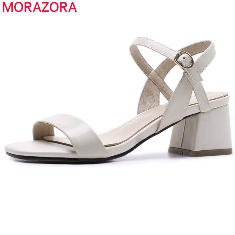 MORAZORA black apricot fashion summer new shoes woman square heel sandals women genuine leather high heels shoes 2018 new msfair women square toe wedges sandals fashion butterfly crystal high heels woman sandals 2018 new summer women high heel shoes