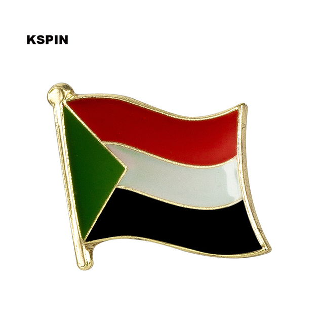 sudan flag brooch pins metal badges military decorative buttons for
