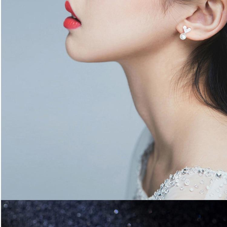 Petit amour oreilles de lapin Stud 2018 nouvelle mode perle boucles d'oreilles pour femmes bijoux féminins