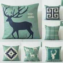 Reindeer Animal Pillow Case 45*45 Home Decor Cushion Cover Simple Geometric Throw Pillowcase Pillow Covers Free Shipping NEW цена в Москве и Питере