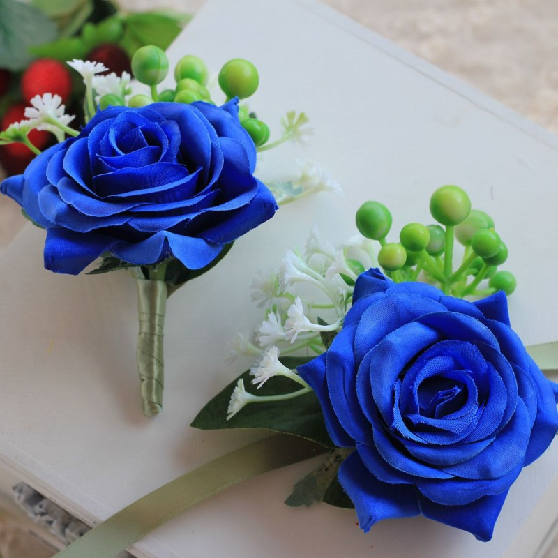 1 Pieces Package Royal Blue Wrist Corsage Groom