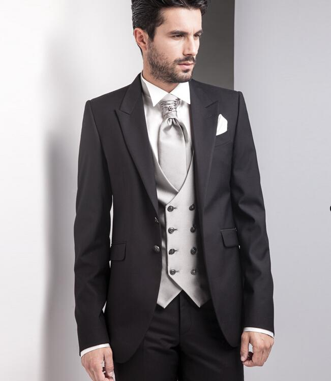 Gentlemen Style Black Blazer Pants With Silver Satin Vest Men