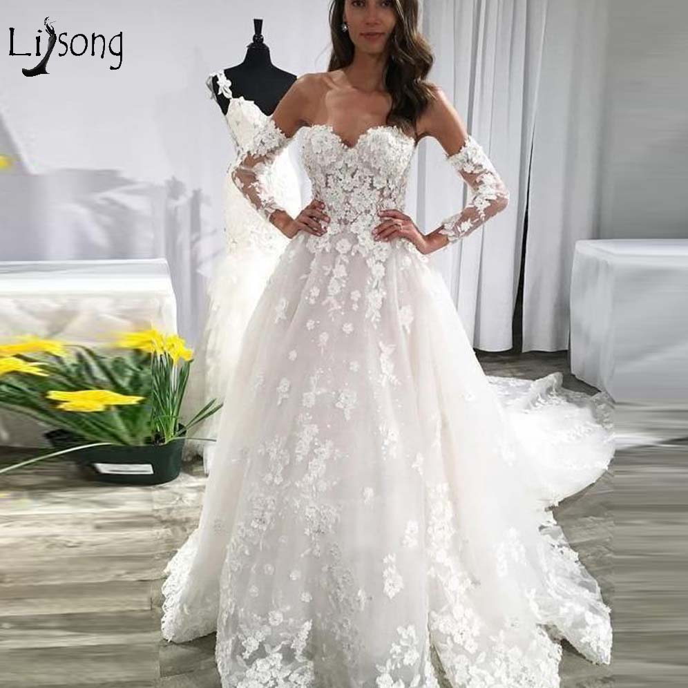 Romantic Floral Lace Wedding Dresses Sweetheart With Detachable Sleeves A-line Pretty Bridal Gowns 2019 Casamento