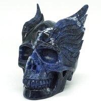 4 синий содалитовый камень крыло череп резные реалистичные кристалл исцеление Декор