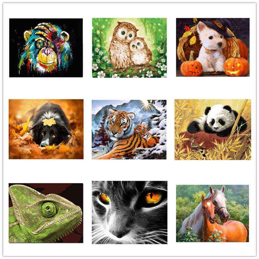 Ween Kucing Hitam Diy Minyak Lukisan Oleh Nomor Kit Hewan Dinding Seni Dekorasi Rumah Gambar Panda Akrilik Cat Di Atas Kanvas untuk Seni 40*50