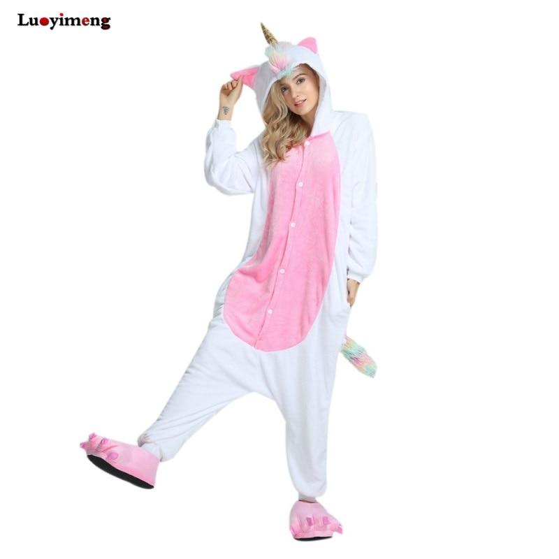 New Onesie Animal Kigurumi Unicorn Pajamas Set Stitch Gold Horn Unicornio Pijamas Onesies Adult Unisex Hooded Women Sleepwear