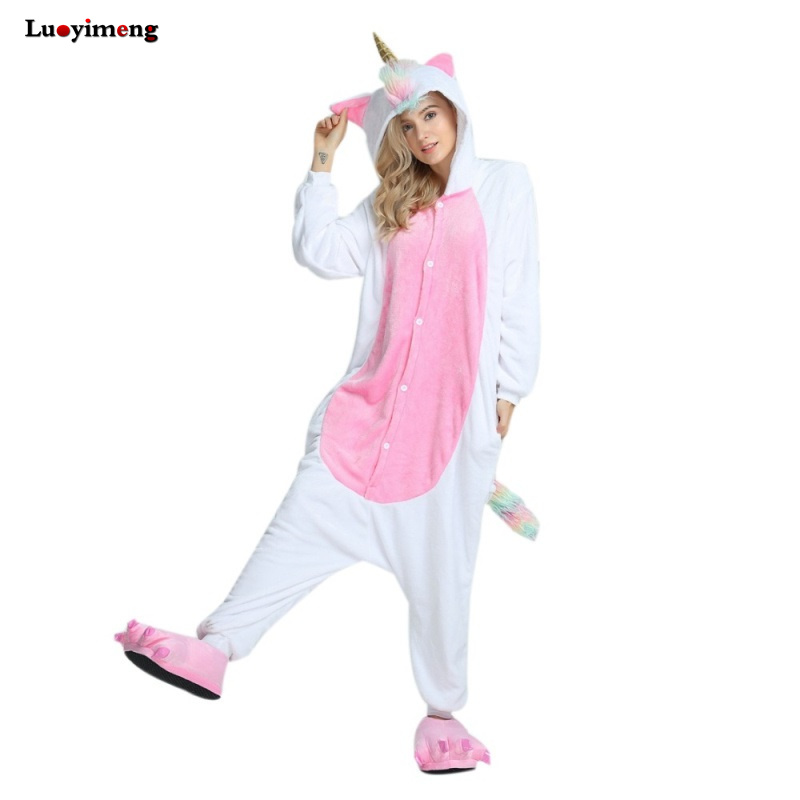 New Onesie Animal Kigurumi Unicorn   Pajamas     Set   Stitch Gold Horn Unicornio Pijamas Onesies Adult Unisex Hooded Women Sleepwear