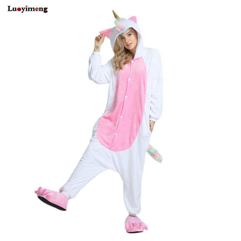 Новый Onesie животных кигуруми Единорог пижамный комплект стежка Золотой  Рог Unicornio пижамы комбинезоны для взрослых унисекс 05460f8019790