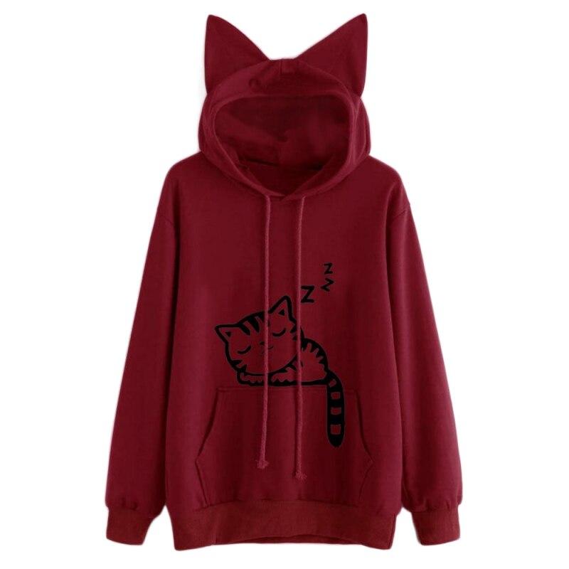 Fashion Cat Ear Hooded Sweatshirts Tops Womens Cat Printed Long Sleeve Hoodies Pullovers