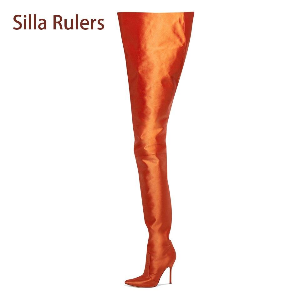 Silla Rulers Women Sexy Waist High Boots Stiletto Satin Orange Rose Red Black Celebrity Catwalk Bootie Thigh High Boots Women red button closure high waist skorts