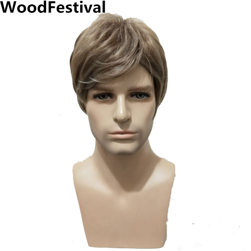 WoodFestival Male Men Heat Resistant Synthetic Wigs Brown Straight Mens Man Wig Cosplay Short