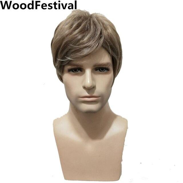 WoodFestival 男性耐熱合成かつらブラウンストレートメンズ男ウィッグコスプレショートヘア