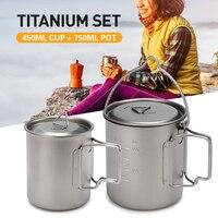400ml/450ml Ultralight Titanium Cup 750ml Titanium Hanging Pot Outdoor Tableware Sets Outdoor Camping Picnic Portable Drinkware