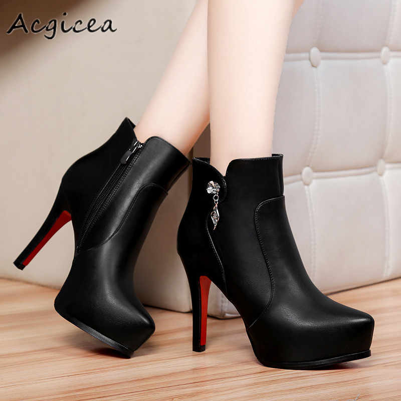 Kış kısa çizmeler 2019 yeni kadın seksi basit yan fermuar stiletto çizmeler kadınlar için rahat basit topuklu ayakkabı z183