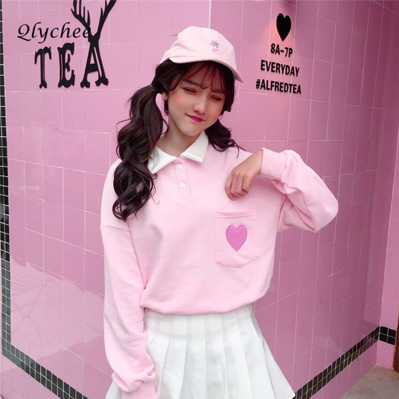 Qlychee Sweet Pink Heart Embroidery Tshirt Female Long Sleeve Top Tees Turn-down Collar Pockets Spring Autumn   T     shirt