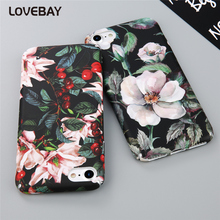 Lovebay Phone Case For iPhone 7 7 Plus 6 6s Plus 5 5s SE Beautiful Cute Cartoon Flower Rose Hard PC Full Cover Phone Case Bags