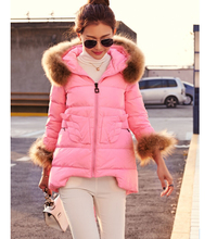 New Women Fashion Winter Down jacket Heavy hair collar Thickening Hooded Super Warm Coats High quality Pure color Coat G1645