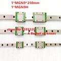 Miniatura de slides 9mm Guia Linear MGN9 L = 250mm linear rail way + MGN9C ou MGN9H Longo transporte linear para CNC X Y Eixo Z livre