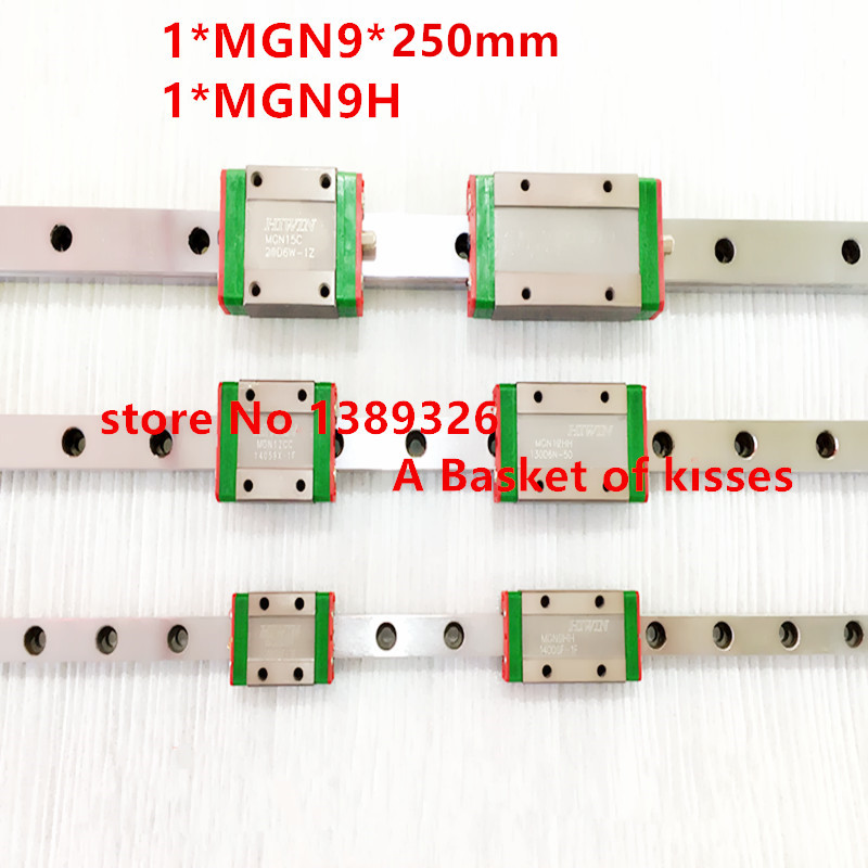 Miniature slide 9mm Linear Guide MGN9 L= 250mm linear rail way + MGN9C or MGN9H Long linear carriage for CNC X Y Z Axis Free