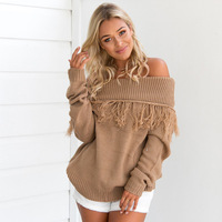 2017 Autumn And Winter New Pattern European One Word Lead Tassels Length Sleeve Knitting Unlined Upper Garment Sweater