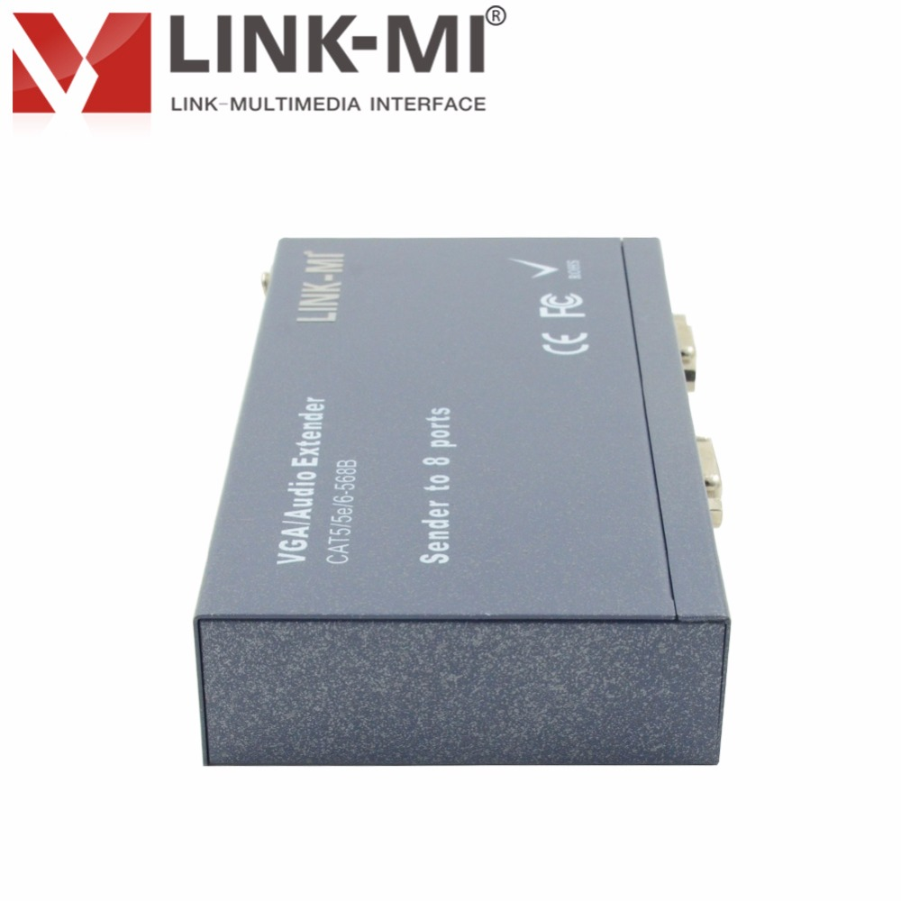 LINK-MI LM-108T VGA Extender 8 way Sender with 8 Receivers 300M 8 Channel VGA Splitter 1x8 CAT5 cat5e cat6 Cable for HD monitor