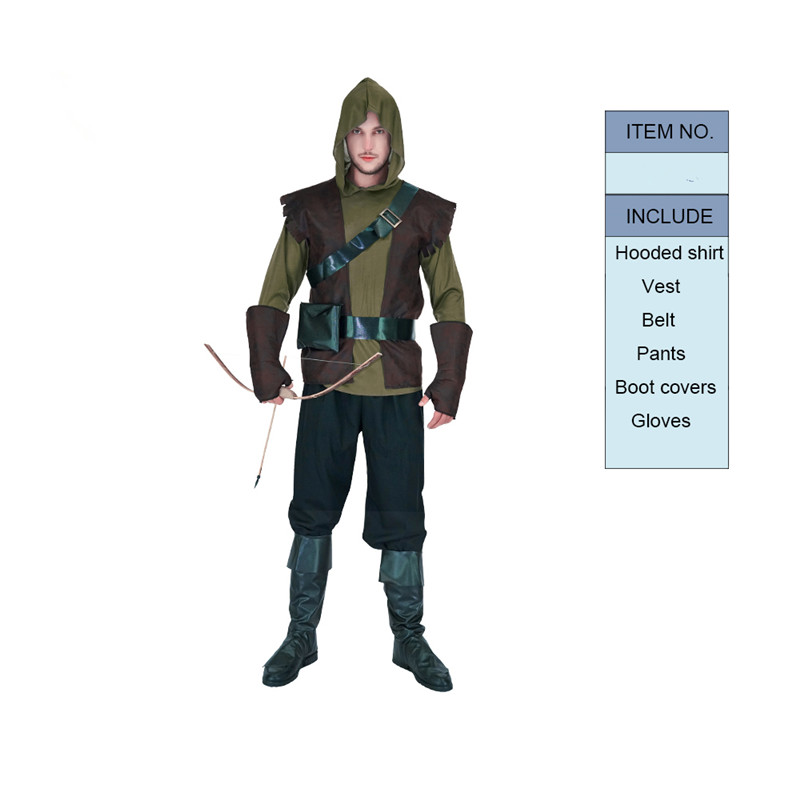 Brave Green Arrow Costume Mens Prince Of Thieves Robin Hood Cosplay Costume Halloween Christmas Party Masquerade Robin Costume image