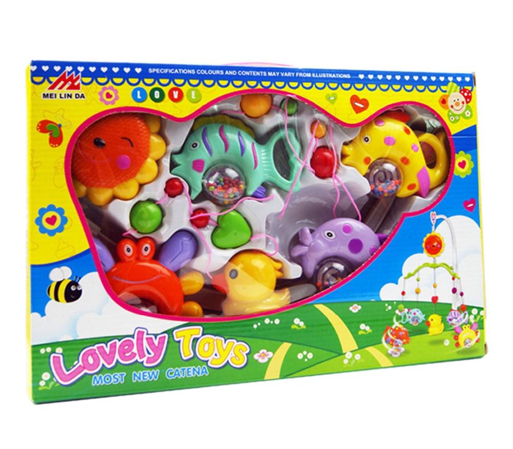 Naujas atvykimo lovelė Muzikos skambučio žiedas, besisukantis vaikams Vaikų lovos gyvūnai, žaislai, dekoruoti mažmenine dėže