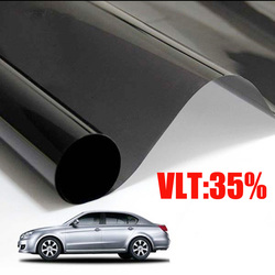 Mejor oferta VLT 35% x 50x300 CM/lote negro coche ventana tinte película de vidrio 1 PLY Auto casa película de tinte de ventana lateral Solar comercial