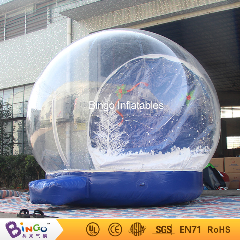 Christmas Day custom empty giant inflatable snow globe with free kits 3m diameter empty inflatable snow ball for advertisement christmas decorations giant inflatable snow globe
