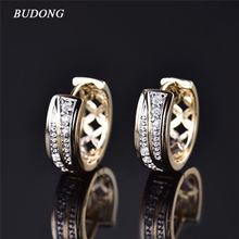 BUDONG Brand Fashion Small Hollow Huggies Hoop Earring for Women Gold Color Earing Round Cut Crystal