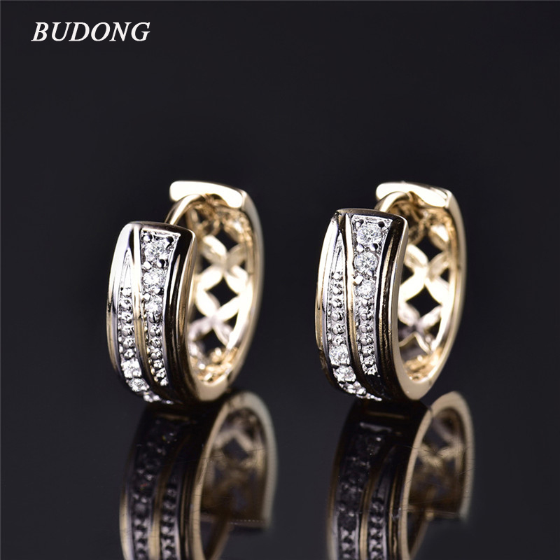 BUDONG Brand Fashion Small Hollow Huggies Hoop Earring for Women Gold Color Earing Round Cut font