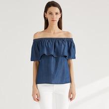ESCALIER Women's Off The Shoulder Top Blouse Tencel denim shirt off shoulder scallop trim denim blouse