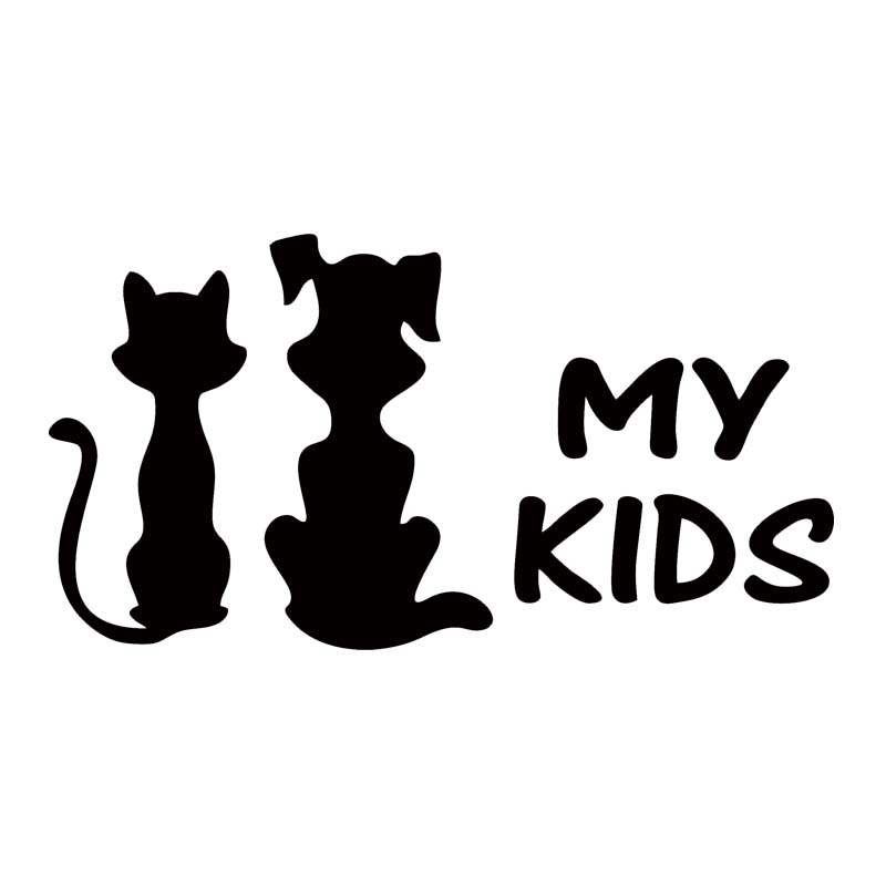 New Style Funny For My Kids Cat And Dog Car Sticker Car Styling Window Vinyl Truck Decal Jdm