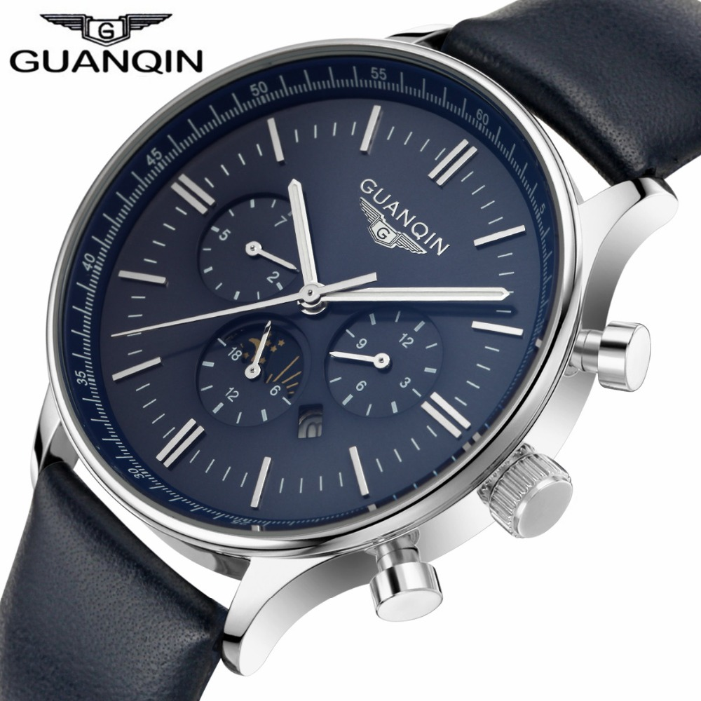 2016 GUANQIN Fashion Watches Men Luxury Brand Men s Quartz Hour Date Clock Sports Watch Man