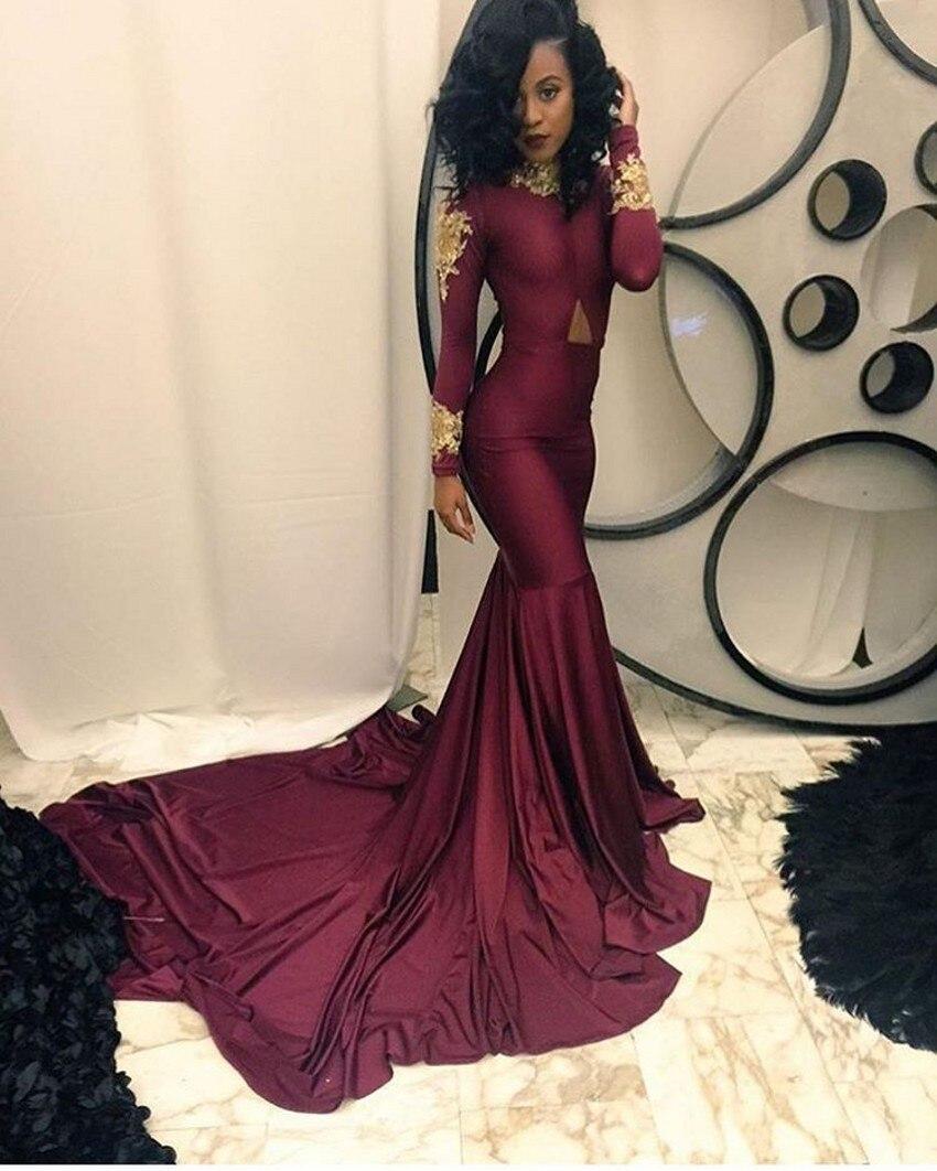 2017 Burgundy Long Sleeve African Mermaid   Evening     dresses   Plus Size High Neck Prom   Dress   Vestido de noche Robe de soiree longue