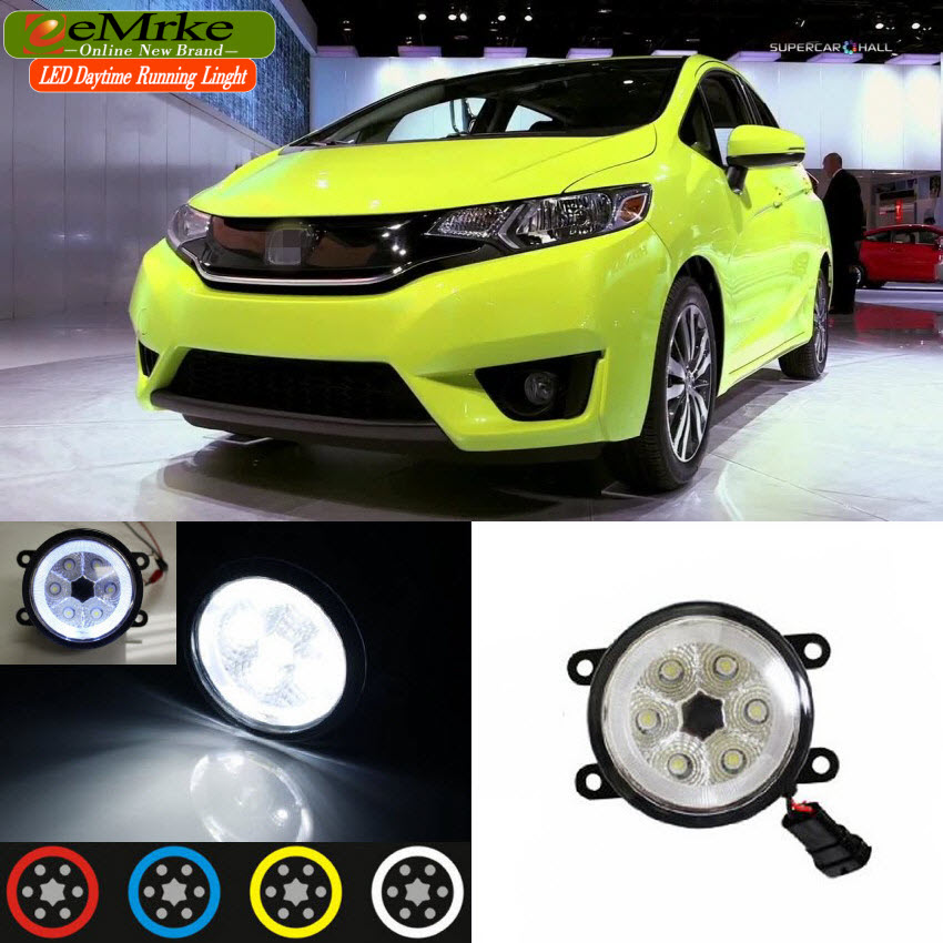 EEMRKE For Honda Jazz Fit GK5 2013-up 2 in 1 CCFL Angel Eye LED DRL Fog Light Lamp Daytime Running Lights Car Styling Accessory eemrke for toyota vios yaris belta 2007 2013 led angel eye drl daytime running light halogen yellow h11 55w fog lights