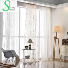 Slow Soul White Yellow Striped Curtain Living Room Curtains For Bedroom  Pastoral Embroidered Tulle Kitchen Cotton