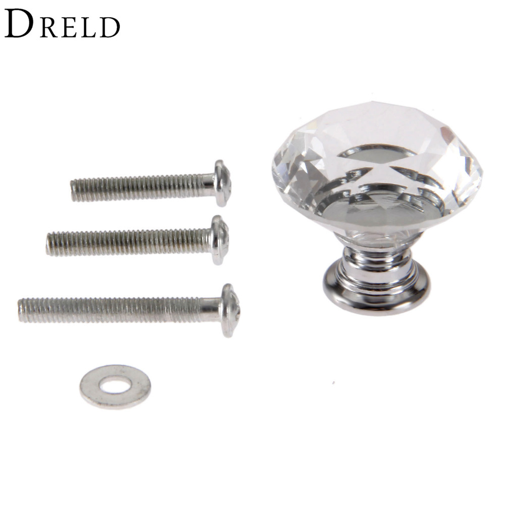 DRELD 1Pcs 30mm Diamond Crystal Glass Door Drawer Wardrobe Pull Handle Knobs Kitchen Furniture Handles + 3Pcs Screws 22/25/30mm 10 pcs 30mm diamond shape crystal glass drawer cabinet knobs and pull handles kitchen door wardrobe hardware accessories