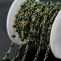 5Meter Faceted Malaysia Jade Rosary style Chain,Green Jasper Rondelle with Brass Wire Wrapped Chains Necklace bracelet Jewelry