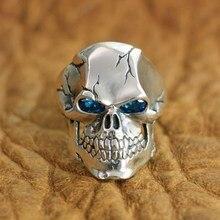 "LINSION 925 סטרלינג כסף CZ עיניים גולגולת טבעת Mens Biker רוק פאנק טבעת TA131 בארה""ב גודל 7 ~ 15"