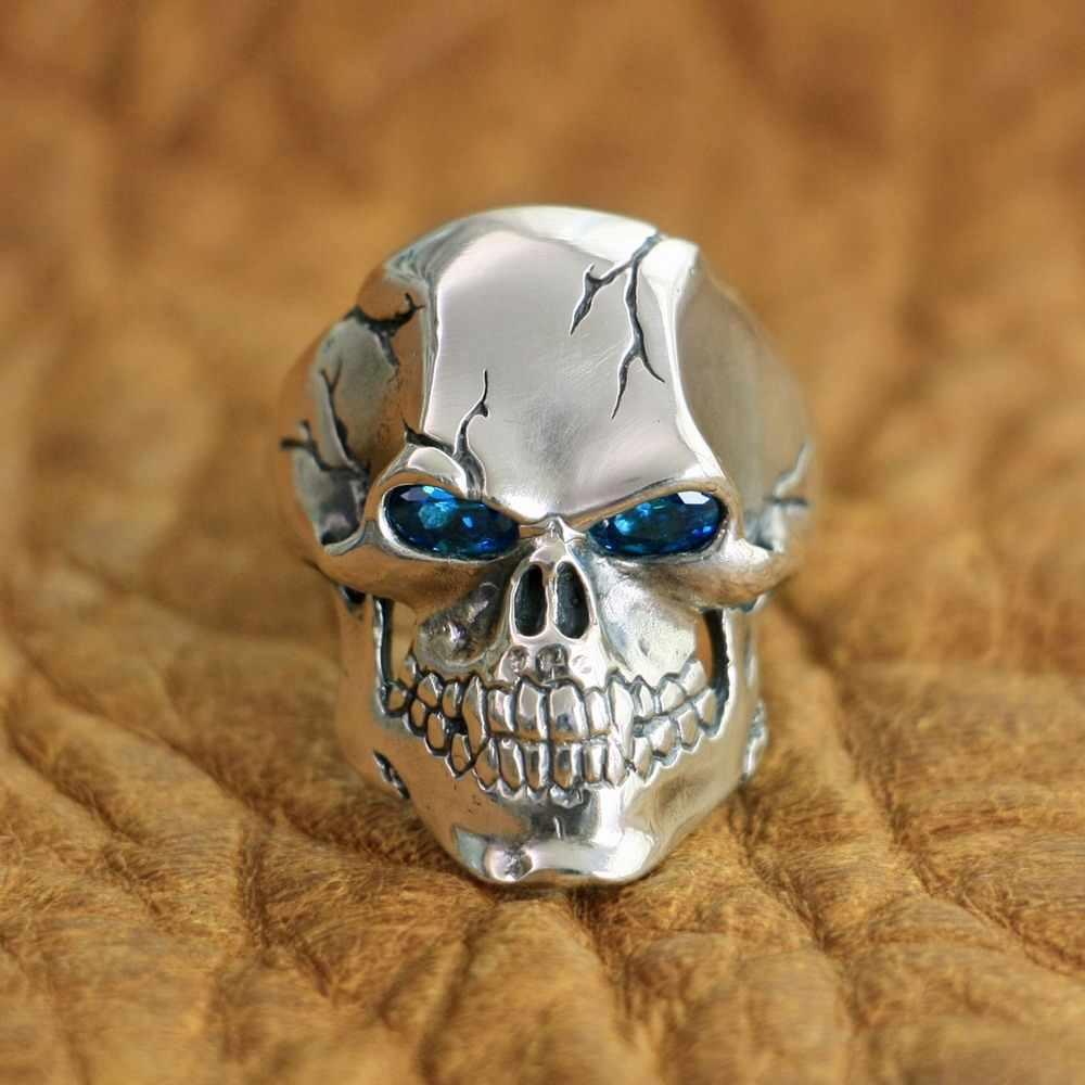LINSION 925 Sterling Silver CZ Occhi Dell'anello Del Cranio Del Mens Biker Punk Rock Anello TA131 Formato DEGLI STATI UNITI 7 ~ 15