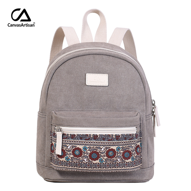New Women Backpack Canvas Retro Style Daily Travel Small Backpacks Bag  Female Casual Floral Daypack National e3b22d4a22f69