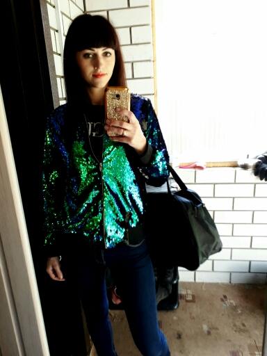 HYH HAOYIHUI Jesień Kobiety Cekiny Płaszcz Zielony Bomber Jacket Kurtka Z Długim Rękawem Zipper Streetwear Preppy Luźne Dorywczo Podstawowe Płaszcz 18