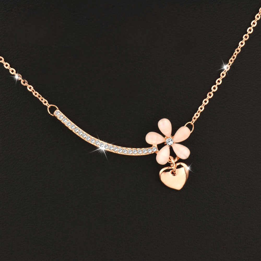 SINLEERY Lovely Opal Flower Heart Necklace Pendants Rose Gold Color Short Chain For Women Jewelry Accessories Xl531 SSE