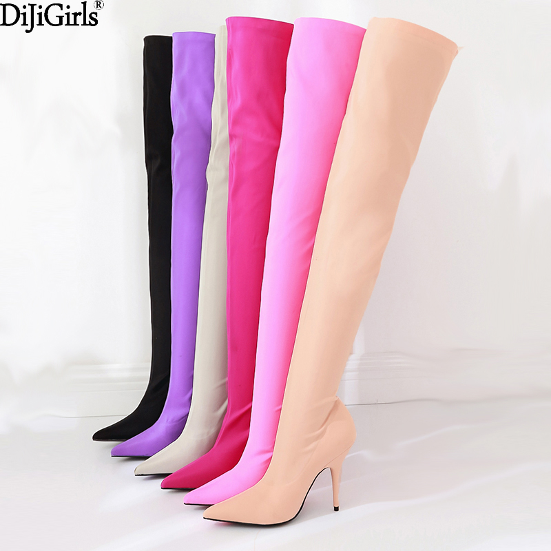 Sexy Silk Elastic Over The Knee Boots Women Stiletto Heel Thigh High Boots Fashion Botines Mujer Candy Color Party Dress Shoes women shoes scarpe donna elastic boots botines mujer sapato feminino round toe chaussure femme schoenen vrouw over knee boots